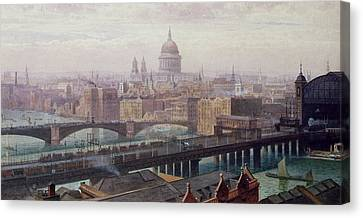View Of London Showing St Paul's And Canon Street Station From Southwark Bridge Canvas Print by John Crowther