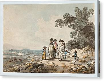 View Of London With St. Paul's In The Distance. A Family Pausing On A Road   Canvas Print by Julius Caesar Ibbetson