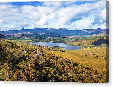 Canvas Print featuring the photograph View Of Lough Acoose In Ballycullane From The Foothill Of Macgil by Semmick Photo