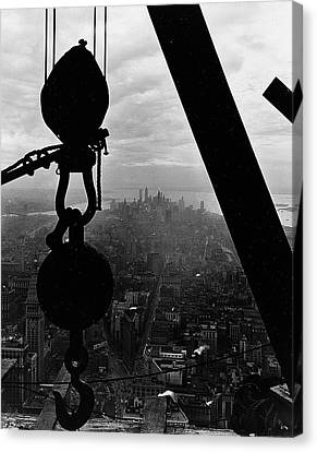 View Of Lower Manhattan From The Empire State Building Canvas Print by LW Hine