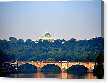 Memorial Hall Canvas Print - View Of Memorial Hall From The Schuylkill River by Bill Cannon
