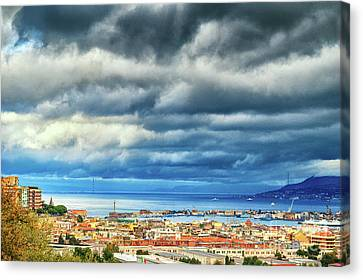 View Of Messina Strait Sicily With Dramatic Sky Canvas Print