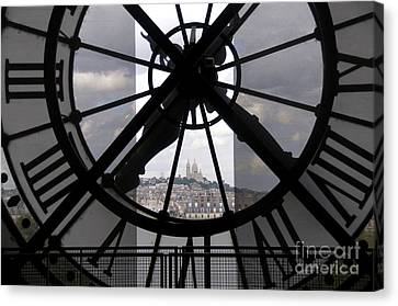 View Of Montmartre Through The Clock At Museum Orsay.paris Canvas Print