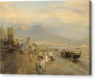 View Of Naples At Sunset Canvas Print by Oswald Achenbach