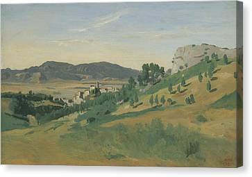Italian Landscapes Canvas Print - View Of Olevano by Jean-Baptiste-Camille Corot