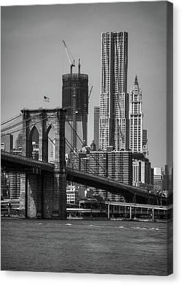 View Of One World Trade Center And Brooklyn Bridge Canvas Print by Matt Pasant