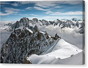 View Of Overlooking Alps Canvas Print by Ellen van Bodegom