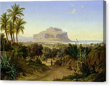 View Of Palermo With Mount Pellegrino Canvas Print by August Wilhelm Julius Ahlborn