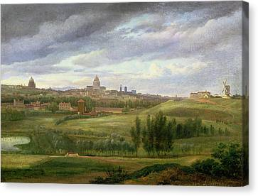 View Of Paris From Butte Aux Cailles Canvas Print by Jean Baptiste Gabriel Langlace