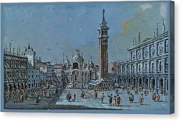 San Marco Canvas Print - View Of Piazza San Marco by Giacomo Guardi