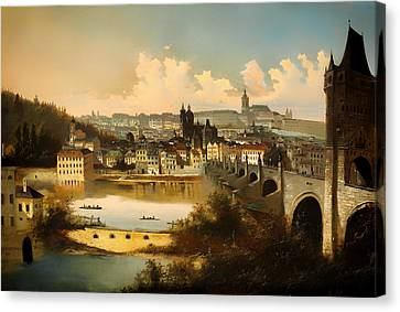 View Of Prague With The Charles Bridge Crossing The Vitava River Canvas Print by Mountain Dreams