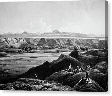 View Of Rocky Mountains In Distance Canvas Print by Douglas Barnett