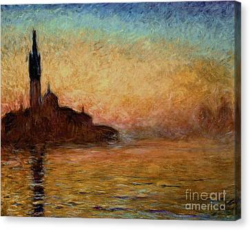 Impressionist Landscape Canvas Print - View Of San Giorgio Maggiore by Claude Monet