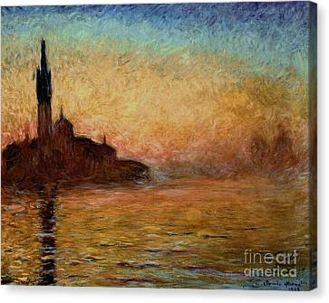 View Of San Giorgio Maggiore Venice By Twilight Canvas Print by Claude Monet