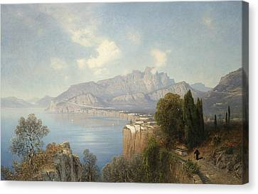 View Of Sorrento Canvas Print by Oswald Achenbach