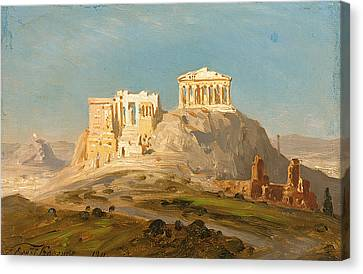 View Of The Akropolis Athens Canvas Print by Ernst Karl Eugen Koerner