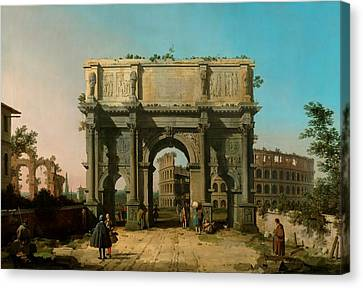 View Of The Arch Of Constantine With The Colosseum Canvas Print by Canaletto