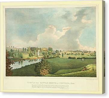Concord Massachusetts Canvas Print - View Of The Battle Ground At Concord Mass by Fitz Henry Lane