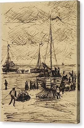 View Of The Beach At Scheveningen, 1882 Canvas Print by Vincent Van Gogh