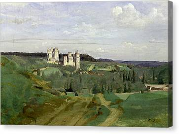 Chateau Canvas Print - View Of The Chateau De Pierrefonds by Jean Baptiste Camille Corot