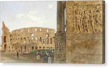 View Of The Coliseum From The Arch Of Constantine, Rome Canvas Print by Celestial Images