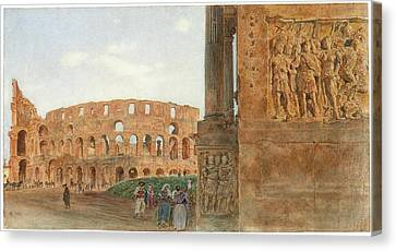 View Of The Coliseum From The Arch Canvas Print by MotionAge Designs
