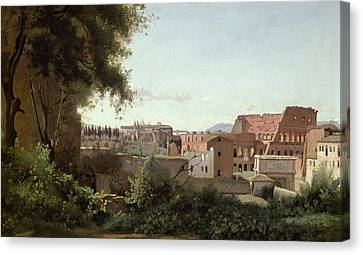View Of The Colosseum From The Farnese Gardens Canvas Print by Jean Baptiste Camille Corot