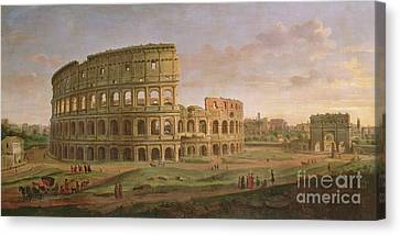 View Of The Colosseum With The Arch Of Constantine Canvas Print by Gaspar van Wittel