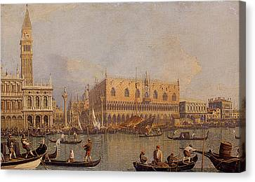 View Of The Ducal Palace In Venice Canvas Print by Canaletto