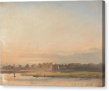 View Of The Elbe Canvas Print by Johan Christian Dahl
