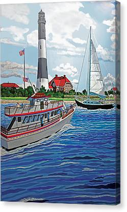 View Of The Fire Island Lighthouse From The Great South Bay Canvas Print by Bonnie Siracusa