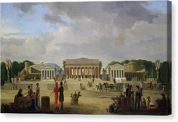 View Of The Grand Theatre Constructed In The Place De La Concorde For The Fete De La Paix Canvas Print by Jean Baptiste Louis Cazin
