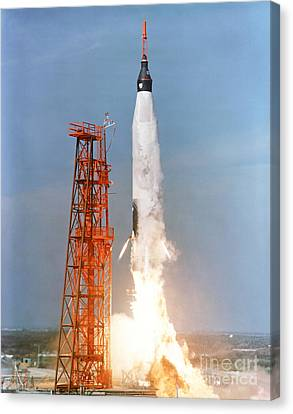 View Of The Liftoff Of Mercury-atlas 5 Canvas Print by Stocktrek Images