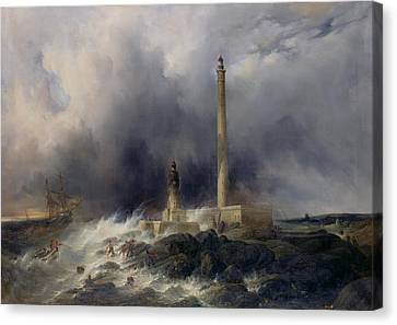View Of The Lighthouse At Gatteville Canvas Print by Jean Louis Petit