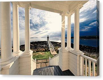 View Of The Marshall Point Lighthouse From The Keeper's House Canvas Print by George Oze