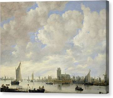 View Of The Merwede At Dordrecht Canvas Print by Jeronimus van Diest