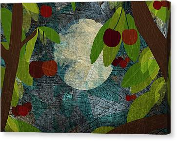 View Of The Moon And Cherries Growing On Trees At Night Canvas Print by Jutta Kuss