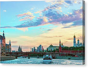 View Of The Moscow River, The Moscow Kremlin And The Moscow International Business Center  Canvas Print by George Westermak