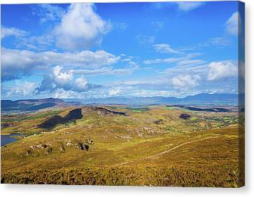 Canvas Print featuring the photograph View Of The Mountains And Valleys In Ballycullane In Kerry Irela by Semmick Photo