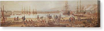 View Of The New Port Of Toulon Canvas Print by Michel de Toulon
