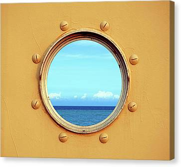 View Of The Ocean Through A Porthole Canvas Print