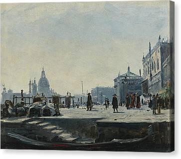 View Of The Riva Degli Schiavoni, Venice Canvas Print by Ercole Calvi