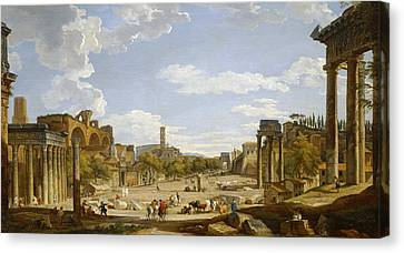 View Of The Roman Forum Canvas Print by Giovanni Paolo Panini