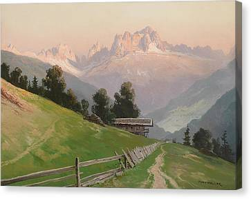 View Of The Rosengarten Dolomites In The Evening Light Canvas Print by MotionAge Designs