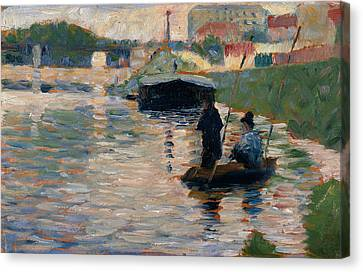 Seurat Canvas Print - View Of The Seine by Georges-Pierre Seurat