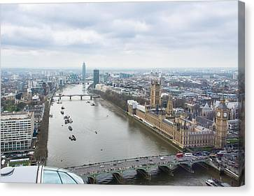 View Of The Thames River And Houses Of Parliament Form The London Eye Canvas Print by AMB Fine Art Photography