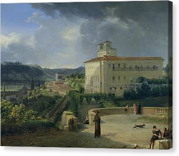 View Of The Villa Medici In Rome Canvas Print by Nicolas Antoine Taunay