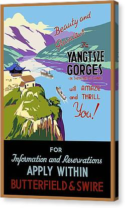 Chinese Landscape Canvas Print - View Of The Yangtsze Gorges In China - Vintage Illustrated Poster by Studio Grafiikka