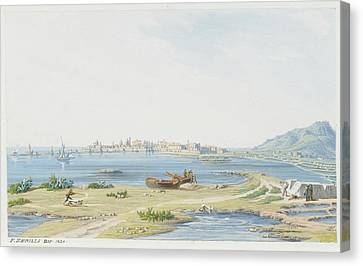 View Of Trapani With Mount Canvas Print