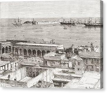 View Of Veracruz And The San Juan De Ul Canvas Print by Vintage Design Pics